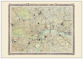 Large Vintage London Map from the Royal Atlas 1898 (Wood Frame - White)