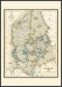 Large Vintage Map of Denmark (Pinboard & wood frame - Black)