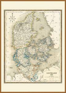 Large Vintage Map of Denmark (Pinboard & wood frame - Teak)
