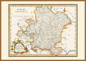 Large Vintage Map of Franconia (Pinboard & wood frame - Teak)