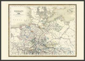 Large Vintage Map of Northern Germany (Pinboard & wood frame - Black)