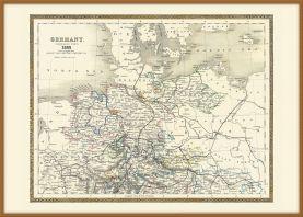 Large Vintage Map of Northern Germany (Pinboard & wood frame - Teak)