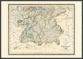 Large Vintage Map of Southern Germany (Pinboard & wood frame - Black)