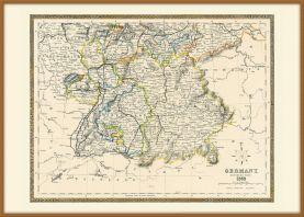 Large Vintage Map of Southern Germany (Pinboard & wood frame - Teak)