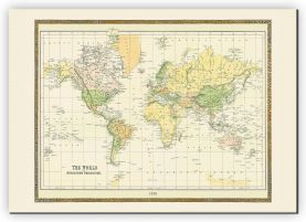 Extra Small Vintage Mercators Projection World Map 1858 (Canvas)