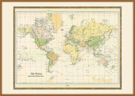 Large Vintage Mercators Projection World Map 1858 (Wood Frame - Teak)