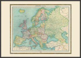 Large Vintage Political Europe Map 1922 (Wood Frame - Black)
