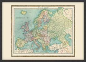 Medium Vintage Political Europe Map 1922 (Wood Frame - Black)
