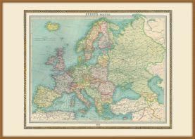 Large Vintage Political Europe Map 1922 (Wood Frame - Teak)