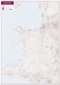 Wales, West Midlands and North West Postcode District Map (Pinboard)