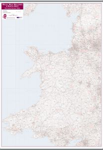 Wales, West Midlands and North West Postcode District Map (Hanging bars)