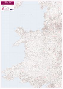 Wales, West Midlands and North West Postcode District Map (Raster digital)
