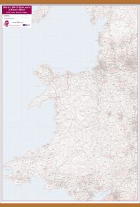Wales, West Midlands and North West Postcode District Map (Wooden hanging bars)