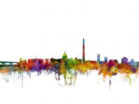 Washington DC Watercolour Skyline