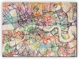 Large Watercolour Map of London (Canvas)