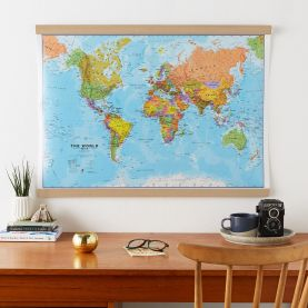 Large World Wall Map Political (Rolled Canvas with Wooden Hanging Bars)