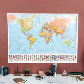 Large World Wall Map Political with flags (Laminated)