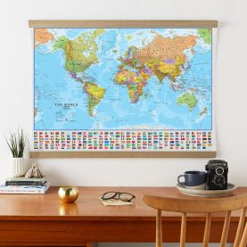 Large World Wall Map Political with flags (Wooden hanging bars)
