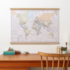Large Classic World Map (Rolled Canvas with Wooden Hanging Bars)