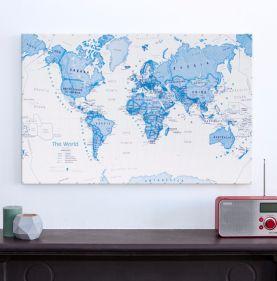 Medium Children's Art Map of the World Blue (Canvas)