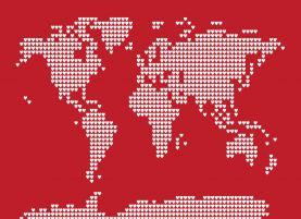 World Map Love Hearts