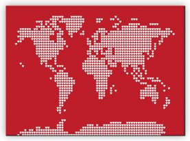 Large World Map Love Hearts (Canvas)