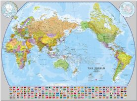 Large World Pacific-centred Wall Map with flags (Pinboard)