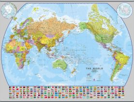 Large World Pacific-centred Wall Map with flags (Hanging bars)