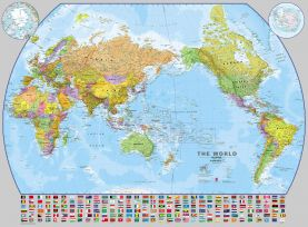Huge World Pacific-centred Wall Map with flags (Magnetic board and frame)
