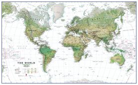 World Wall Map Environmental White Ocean