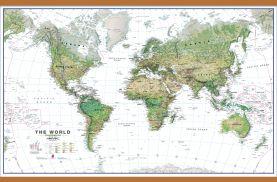 Large World Wall Map Environmental White Ocean (Wooden hanging bars)