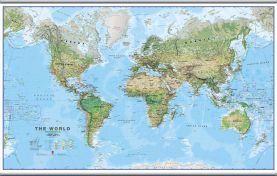 Large World Wall Map Environmental (Hanging bars)