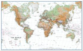 Large World Wall Map Physical White Ocean (Pinboard)