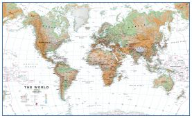 Large World Wall Map Physical White Ocean (Paper)