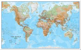 Large World Wall Map Physical (Pinboard)