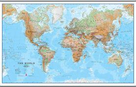 Large World Wall Map Physical (Hanging bars)