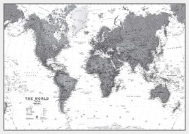 Huge World Wall Map Political Black & White (Paper)