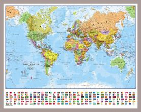 Small World Wall Map Political with flags (Pinboard & framed - Silver)