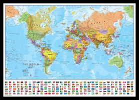 Medium World Wall Map Political with flags (Pinboard & framed - Black)