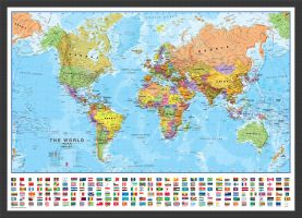 Medium World Wall Map Political with flags (Wood Frame - Black)