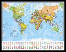 Small World Wall Map Political with flags (Pinboard & framed - Black)