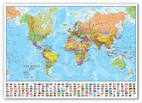 Medium World Wall Map Political with flags (Canvas)
