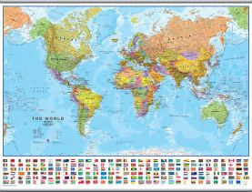 Large World Wall Map Political with flags (Rolled Canvas with Hanging Bars)