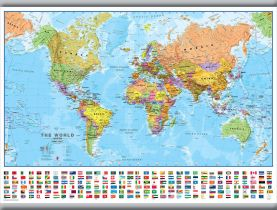 Medium World Wall Map Political with flags (Hanging bars)