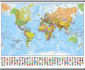 Small World Wall Map Political with flags (Hanging bars)