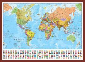 Medium World Wall Map Political with flags (Pinboard & framed - Dark Oak)