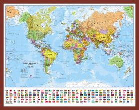 Small World Wall Map Political with flags (Pinboard & framed - Dark Oak)