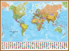 Large World Wall Map Political with flags (Wood Frame - Teak)