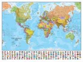 Large World Wall Map Political with flags (Wood Frame - White)