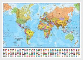 Medium World Wall Map Political with flags (Wood Frame - White)
